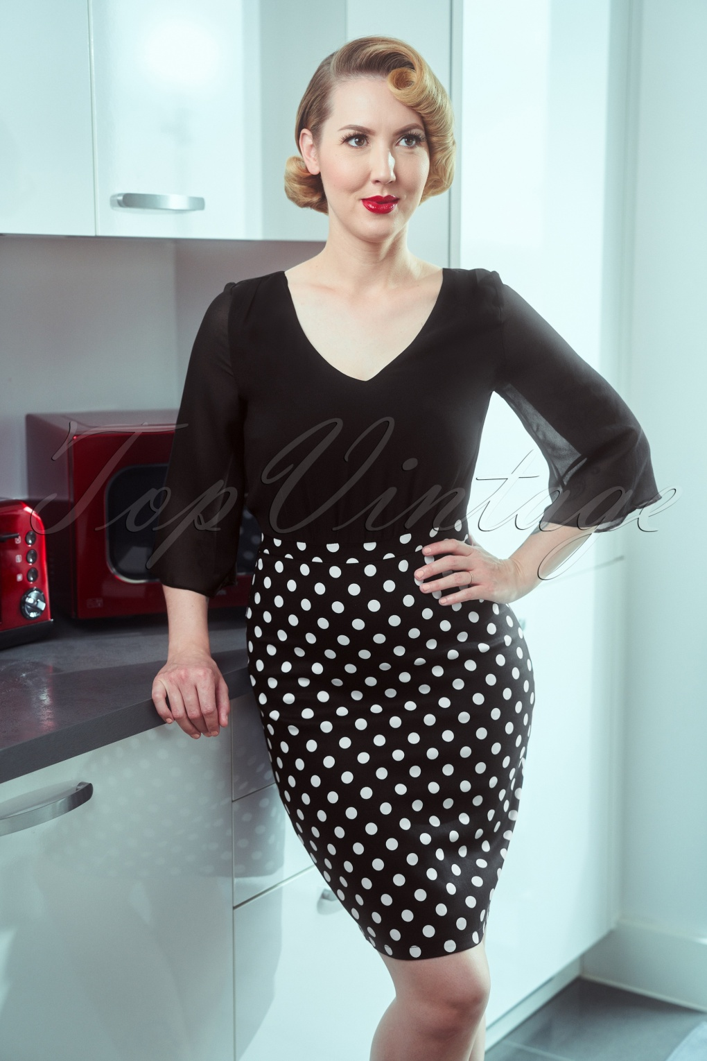 Retro Skirts: Vintage, Pencil, Circle, & Plus Sizes 60s Patsy Polkadot Pencil Dress in Black and White £71.16 AT vintagedancer.com