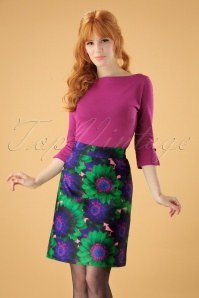 60s Fiona Flower Skirt in Green and Purple