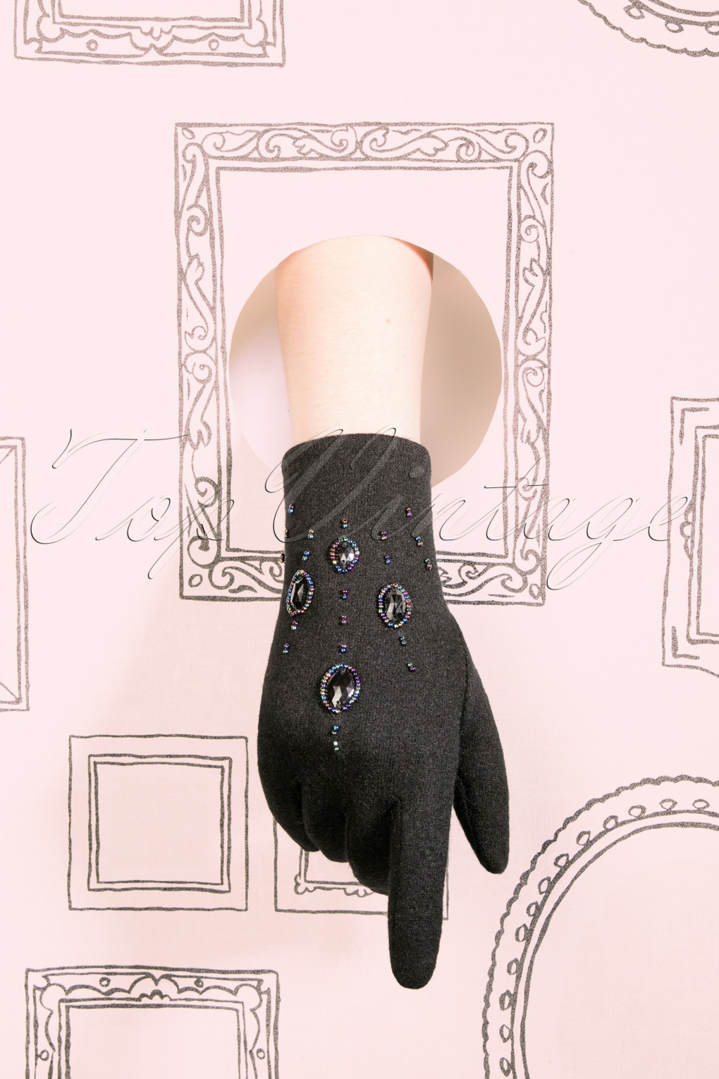 Vintage Style Gloves- Long, Wrist, Evening, Day, Leather, Lace 50s Piper Embellished Wool Gloves in Black £26.60 AT vintagedancer.com