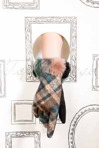 50s Nikki Tartan Wool Gloves in Blue