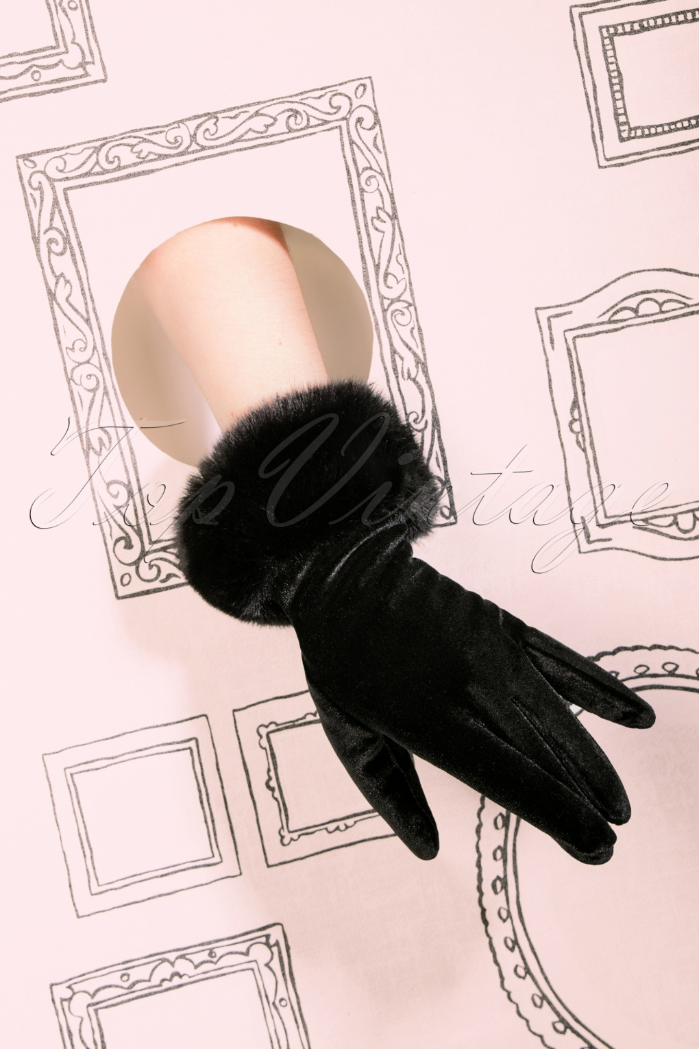 Vintage Style Gloves- Long, Wrist, Evening, Day, Leather, Lace 50s Valentina Velvet Gloves in Black £22.16 AT vintagedancer.com