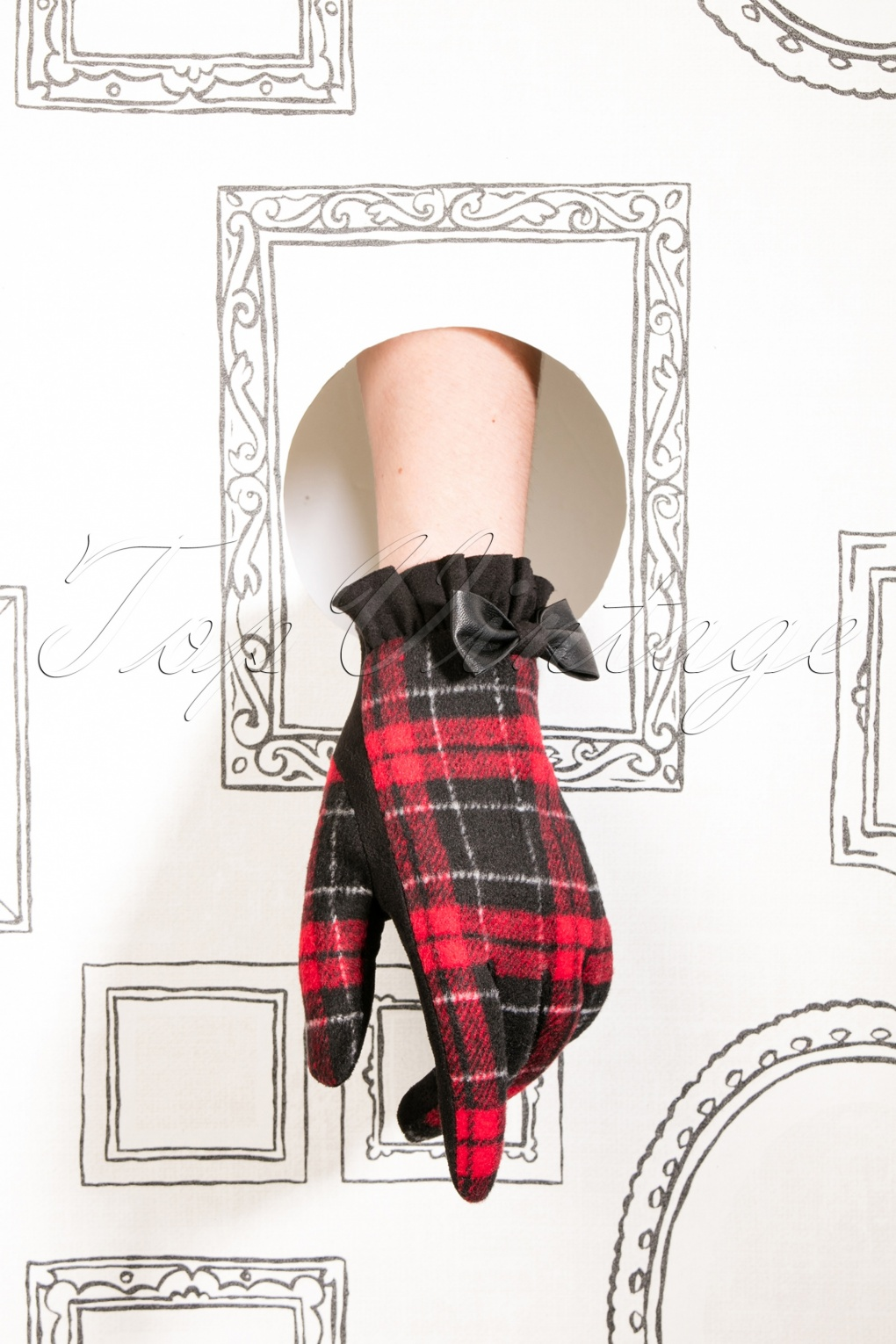 Vintage Style Gloves- Long, Wrist, Evening, Day, Leather, Lace 50s Cavan Tartan Gloves in Black and Red £22.16 AT vintagedancer.com