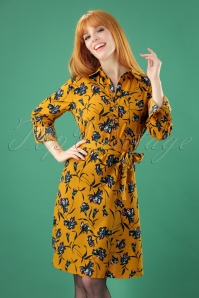 70s Blythe Blouse Dress in Yellow