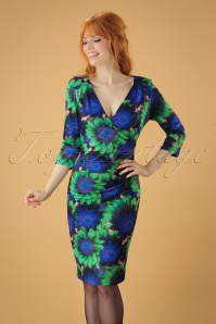 Smashed Lemon Floral Green Pencil Dress 25603 20180801 1W