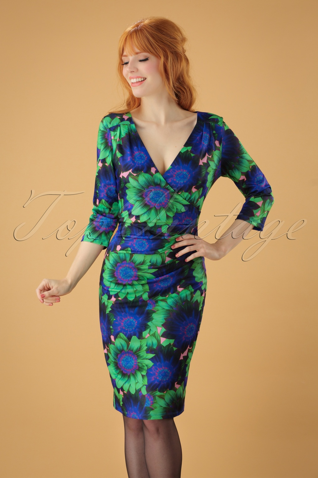 50s Doreen Floral Sleeved Pencil Dress In Blue And Green