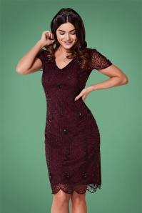 GatsbyLady 20s Downton Abbey Flapper Dress in Plum