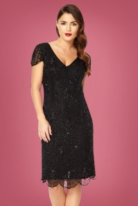 GatsbyLady Downton Abbey Flapper Dress Années 20 en Noir