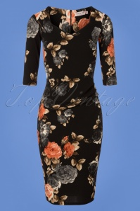 Vintage Chic Black Pink and Grey Roses Pencil Dress 100 14 26610 20180821 0001W