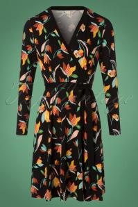 Yumi Colourful Tulip Print Swing Dress in Black  102 14 25699 20180821 0001W