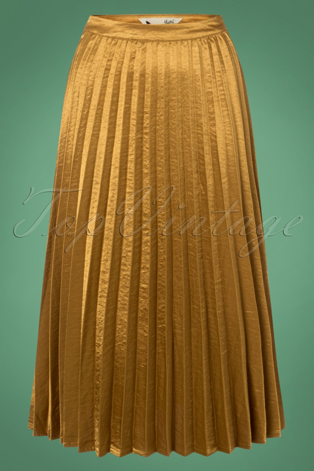 1920s Skirts, Gatsby Skirts, Vintage Pleated Skirts 50s Carole Pleated Skirt in Gold £75.45 AT vintagedancer.com