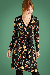 Yumi Colourful Tulip Print Swing Dress in Black  102 14 25699 20180821 0004