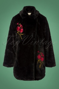 Yumi Faux Fur Coat with Flowers in Black 152 10 25690 20180821 0001W