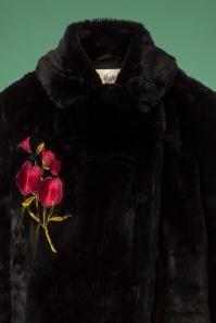 Yumi Faux Fur Coat with Flowers in Black 152 10 25690 20180821 0001V