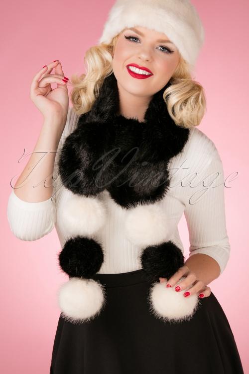 Amici Black and White Faux Fur Scarf 25916 06062018 model01W