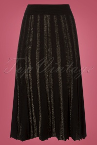 Yumi Black and Gold Lurex Pleated Skirt 122 10 25691 20180821 0004W