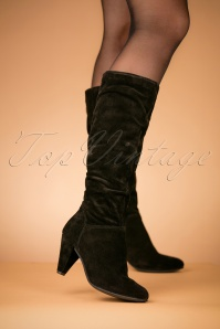 70s Veronica Suede Boots in Black