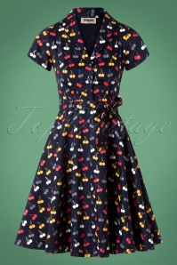 Circus Cherry Print Swing Dress in Navy 102 39 25183 20180822 0003W