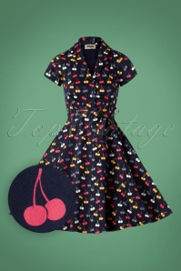 Circus Cherry Print Swing Dress in Navy 102 39 25183 20180822 0001W1