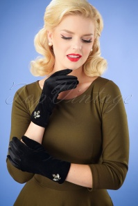 50s Brynn Embellished Velvet Gloves in Black
