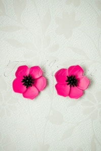 Petunia Flower Stud Earrings Années 50 en Fuchsia