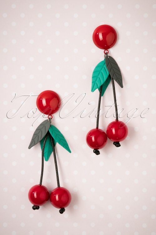Collectif Clothing Kaye Cherry earrings 333 27 25561 08222018 002W