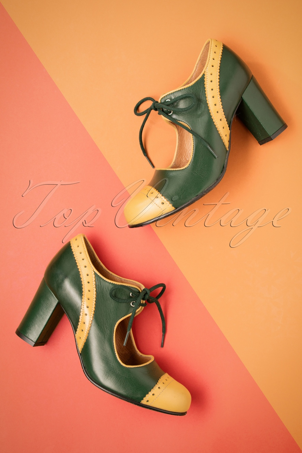 Vintage Style Shoes, Vintage Inspired Shoes 60s Margot Leather Pumps in Green and Mustard £134.57 AT vintagedancer.com