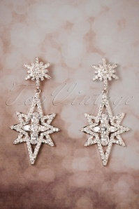 50s Esme Sparkle Star Earrings in Silver
