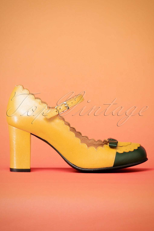 Vintage Style Shoes, Vintage Inspired Shoes 60s Penelope Mary Jane Leather Pumps in Mustard £134.59 AT vintagedancer.com