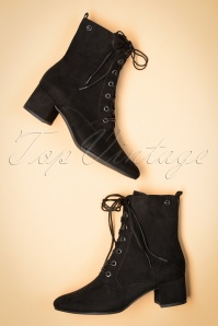 Tamaris 70s Livia Lace Up Ankle Booties in Black