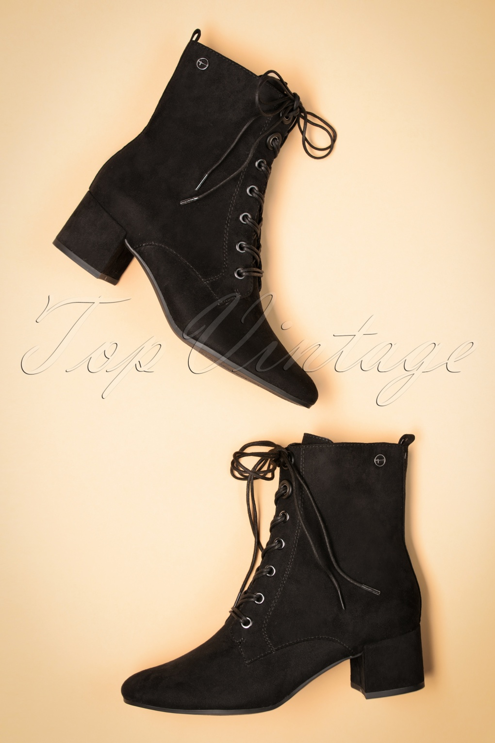 70s Shoes, Platforms, Boots, Heels | 1970s Shoes 70s Livia Lace Up Ankle Booties in Black £63.39 AT vintagedancer.com