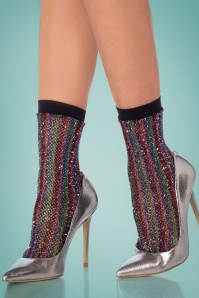 70s Rainbow Lurex Fishnet Ankle Socks in Multi