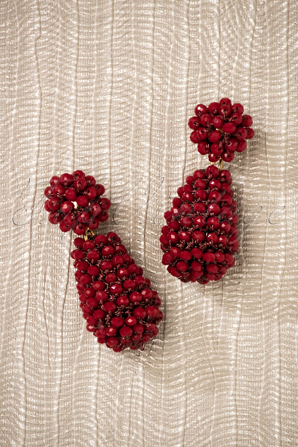 60s -70s Jewelry – Necklaces, Earrings, Rings, Bracelets 60s Maisie Beads Small Earrings in Dark Red £14.21 AT vintagedancer.com