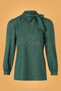 Pretty Vacant Pindot Blouse in Green 112 49 25191 20180822 0004W