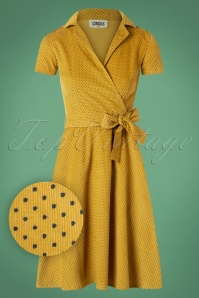 50s Joan Pindot Rib Swing Dress in Yellow