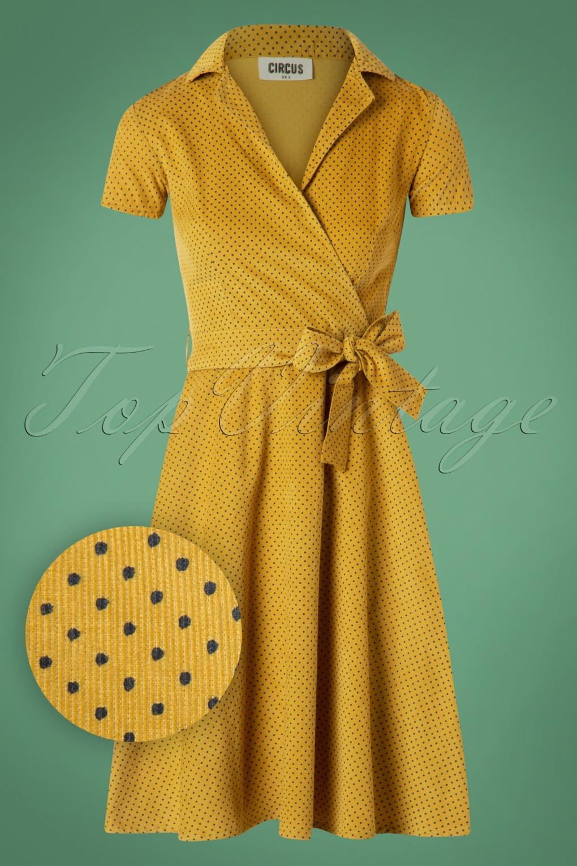 1950s Swing Dresses   50s Swing Dress 50s Joan Pindot Rib Swing Dress in Yellow £91.20 AT vintagedancer.com