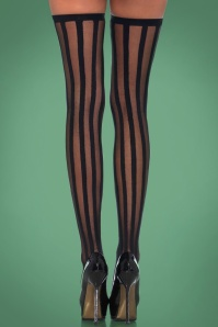 Veronica Vertical Stripe Stockings en Noir