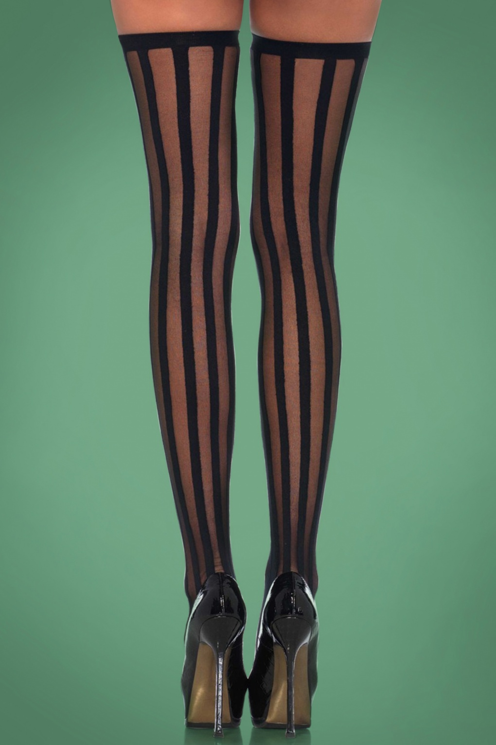 Black Sheer Stockings With Opaque Vertical Stripes One Size