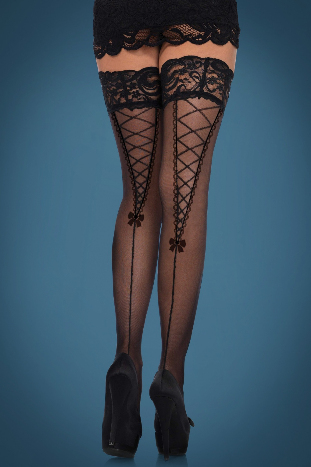Seamed Stockings, Nylons, Tights Dita Lace Top Hold Ups in Black £16.04 AT vintagedancer.com