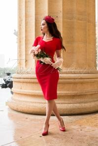 Freda Pencil Dress Années 50 en Rouge Vif