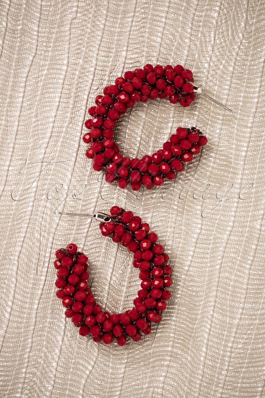 60s -70s Jewelry – Necklaces, Earrings, Rings, Bracelets 60s Mirna Beaded Earrings in Dark Red £12.23 AT vintagedancer.com