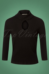 Banned Louise Ribbed Knit Polo Black 26228 20180705 0004W