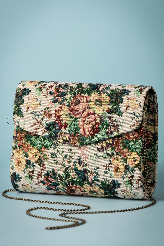 Vintage & Retro Handbags, Purses, Wallets, Bags 30s Malaga Floral Bag in Beige £32.65 AT vintagedancer.com
