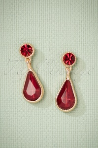 50s Catherine Earrings in Gold and Red