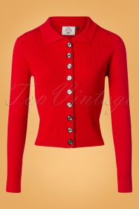 60s Rochelle Rib Collar Cardigan in Red