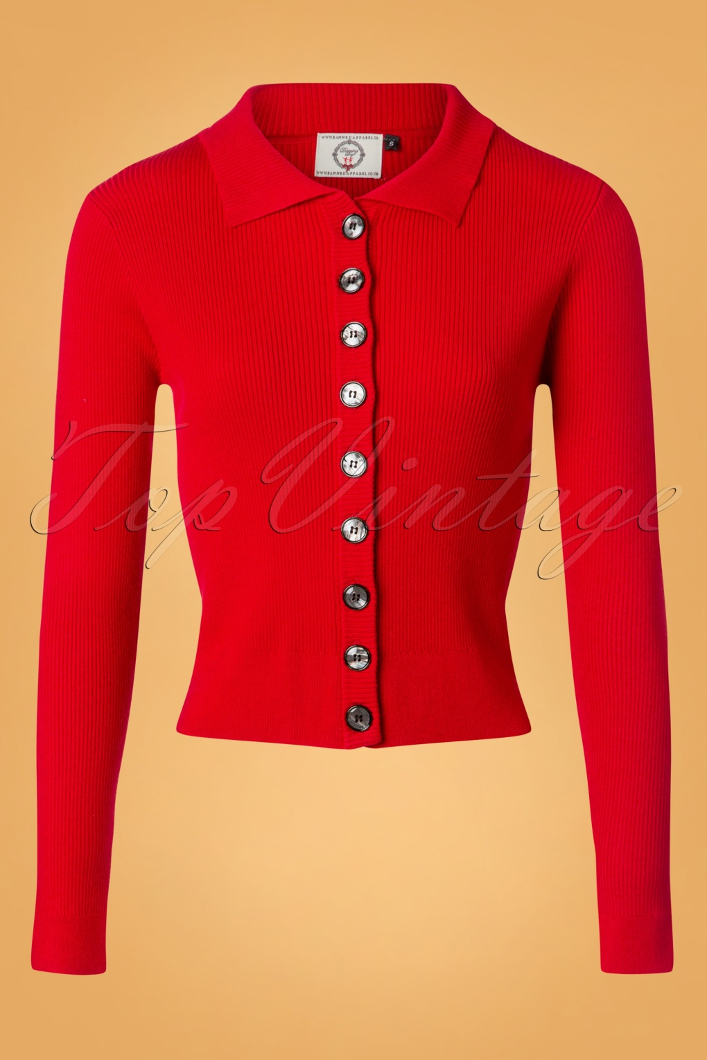 1950s Sweaters, 50s Cardigans, Twin Sweater Sets 60s Rochelle Rib Collar Cardigan in Red £35.10 AT vintagedancer.com