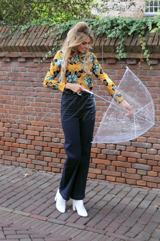 Vintage High Waisted Trousers, Sailor Pants, Jeans 70s Garbo Denim Pants in Ink Blue £84.89 AT vintagedancer.com