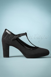 50s Jacky Suedine T-Strap Pumps in Black