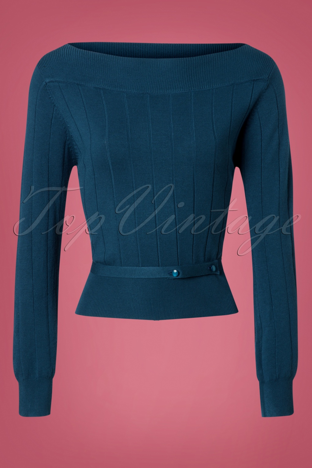 Vintage & Retro Shirts, Halter Tops, Blouses 60s Violetta Knitted Top in Blue £33.03 AT vintagedancer.com