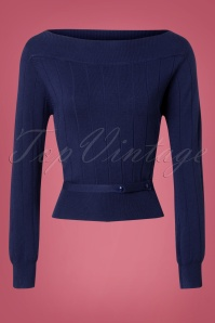 Banned Violetta Knitted Top in Night Blue 26260 20180718 0002W