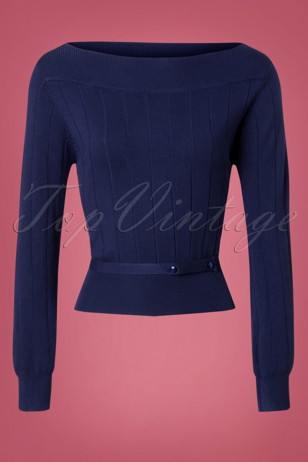Vintage & Retro Shirts, Halter Tops, Blouses 60s Violetta Knitted Top in Night Blue £33.03 AT vintagedancer.com